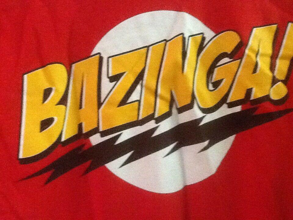 Bazinga The Big Bang Theory T Shirt Mens S Sheldon Red Cotton Ripple Junction