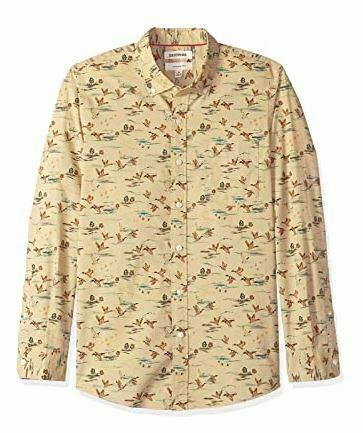 Goodthreads Men's Slim-Fit Long-Sleeve Printed Poplin Shirt,Brown Duck Print NEW