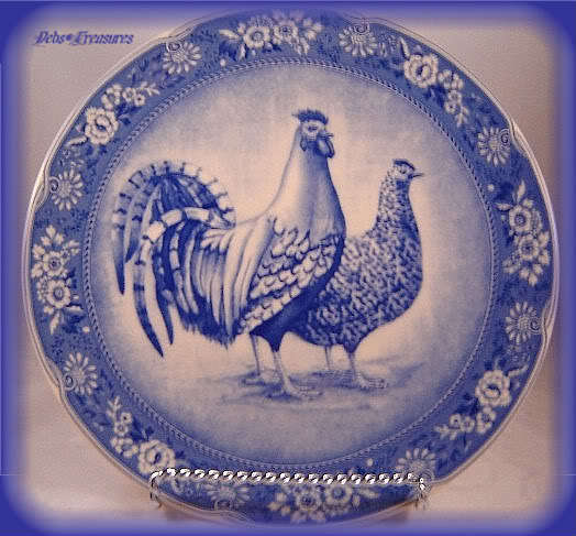 Awesome French Country Blue Rooster Hen Plate D