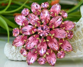 Vintage Hot Pink Rhinestones Tiered Flower Pin Brooch Floral - $24.95