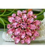 Vintage Hot Pink Rhinestones Tiered Flower Pin ... - $24.95