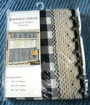 "Achim Buffalo Check Navy Macrame Lace Rod Pocket Valance 58""W x 14""L - $12.86"