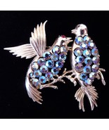 Vintage CORO Love Bird Lovebirds Rhinestone Brooch Pin - $39.95