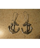 EARRINGS TIBETAN SILVER ANCHOR CHARM PIERCED DANGLE NEW #702 - $6.99