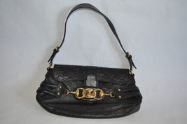 Gucci Guccissima Small Shoulder Bag Black Leather Logo Embossed Bold Gold Cntrpc - $499.00