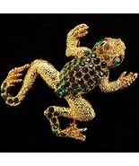 Vintage Rhinestone Frog Brooch Figural Pin  - $24.95