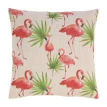 "Tropical Pink Flamingos & Palm Trees Decorative Accent Pillow  17"" x 17""... - $12.69"
