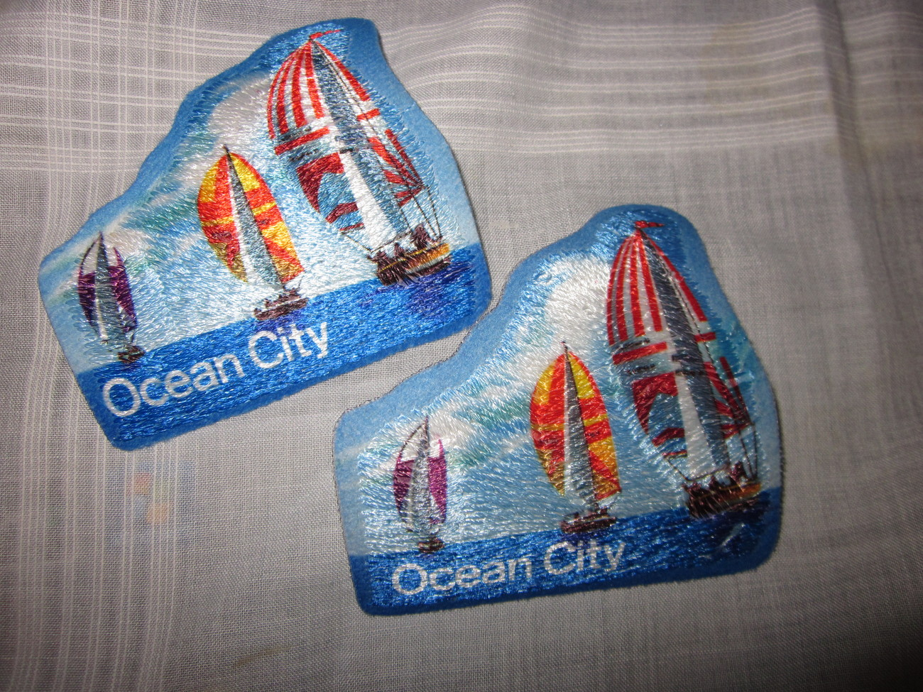 Two Ocean City Iron On Fabric Patches Identical Lot 1