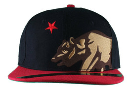 Dissizit! Side Bear Black Red Brim Snapback Cap Hat California Star Flag image 1