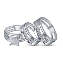 Free Shipping Free Gift His Her Men's Women's White Gold Plated Trio Ring Set - $137.17