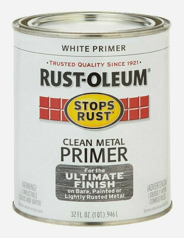 Rust-Oleum WHITE PRIMER 1 qt Stops Rust CLEAN METAL Alkyd Oil-Based 7780-502 NEW - $18.99
