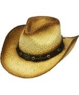Henschel Raffia Aussie Cowgirl Hat Tie Back Band Floral Conchos Natural   - $43.00
