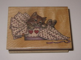 All Wrapped Up CAT Rubber Stamp Heart Box Tissue Paper RARE All Night Media WM - $15.83