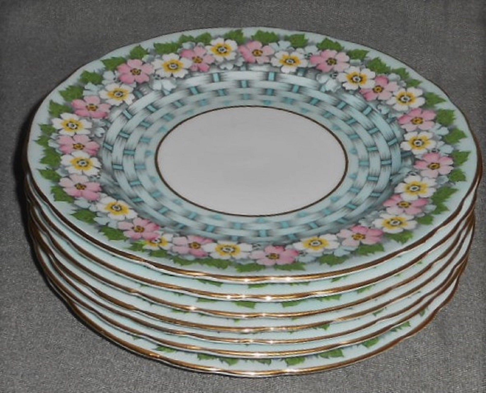 Set (7) Aynsley Bone China BASKETWEAVE FLORAL PATTERN Salad/Cake Plates ENGLAND