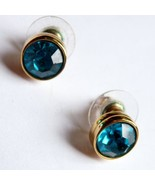 Signed SWAROVSKI Blue Rhinestone Earrings - $42.95