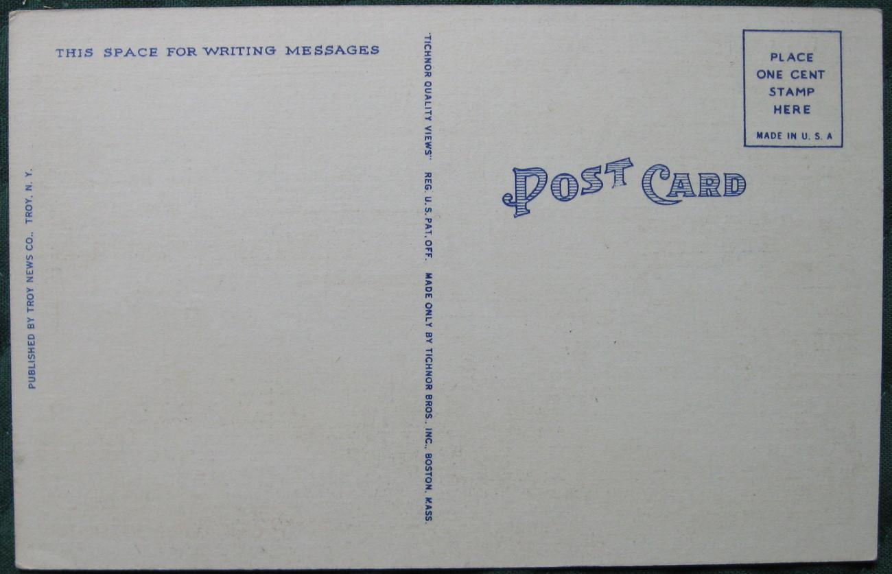 Tichnor Bros, White Border, Linen Postcard, Gray and Menands