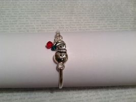 Fun Latch bangle bracelet choice Tree Snowman Angel Snowflake w red green beads image 13