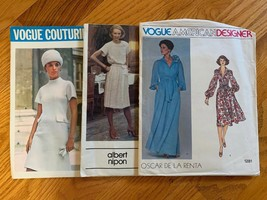 Vogue Vintage Patterns Lot Of 3: 1281 De La Renta, 2640 Nipon, 2089 Sz 12 - $59.39