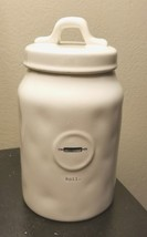 New Rae Dunn by Magenta Roll Rolling Pin Jar Canister Lid Ivory Kitchen ... - $19.39