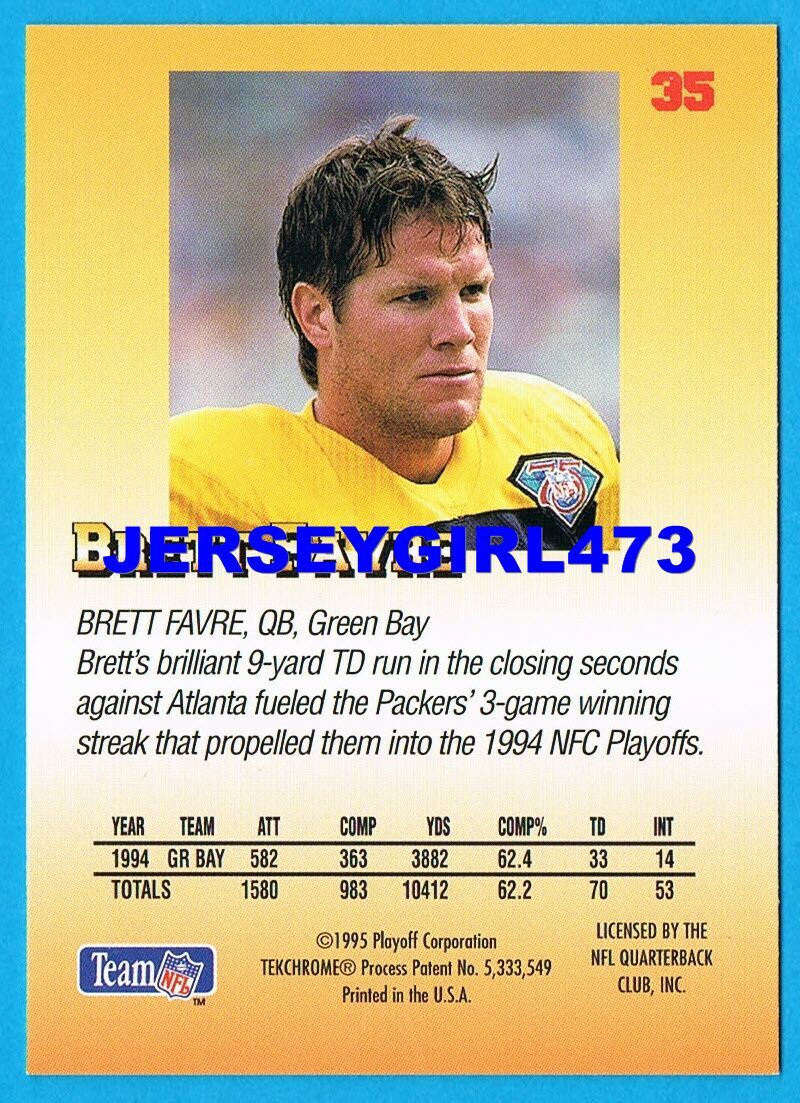 Brett Favre 1995 Prime Playoff Green Bay Packers Football Card #35