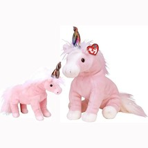 Charmer Pink Unicorn Ty Beanie Baby and Buddy Set Retired MWMT Collectible - $34.60