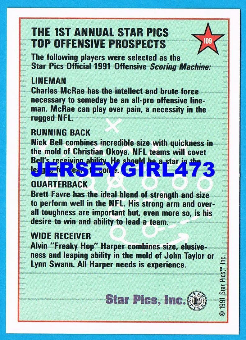 Brett Favre 1991 Star Pics Top Prospects Football Rookie Card #109