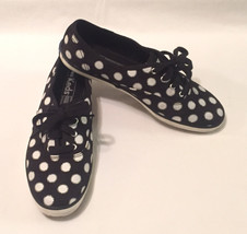 Keds canvas sneakers shoes women's 7.5 black with white and silver polka... - $11.93 CAD