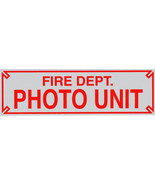 FIRE DEPARTMENT PHOTO UNIT Highly Reflective Heavy Vinyl Decal - size: 3... - $8.41