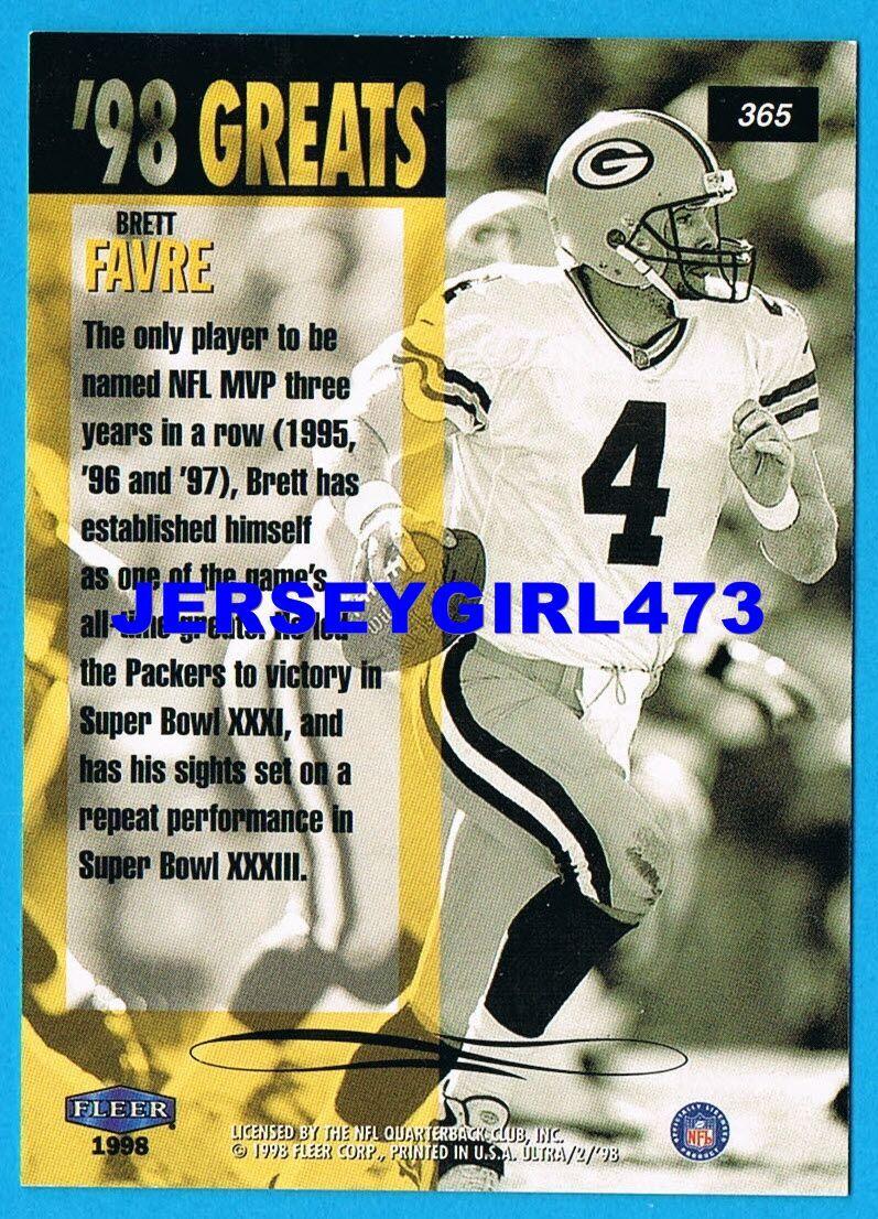 Brett Favre 1998 Fleer Ultra Greats Green Bay Packers Football Card #365