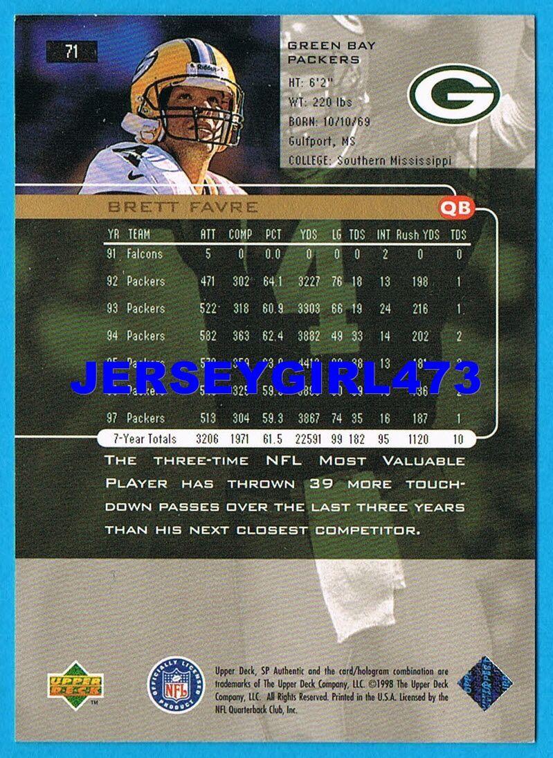 Brett Favre 1998 Upper Deck SP Authentic Green Bay Packers Football Card #71