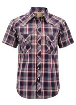 Men's Western Short Sleeve Button Down Casual Plaid Pearl Snap Cowboy Shirt image 6