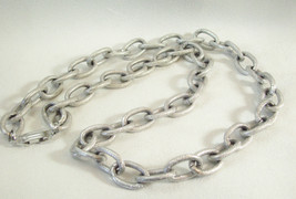 FROSTY SILVER Tone Big CABLE Link CHAIN Necklace Germany Vintage Lightwe... - $18.81