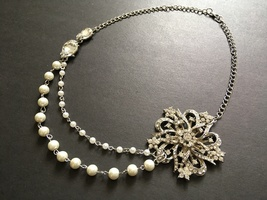 Flower pearls necklace, layering necklace, rhinestones necklace, crystal... - $28.88