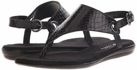 Aerosoles Womens Conchlusion Black Snake T-Strap Sandals Size 6 M US - $39.99
