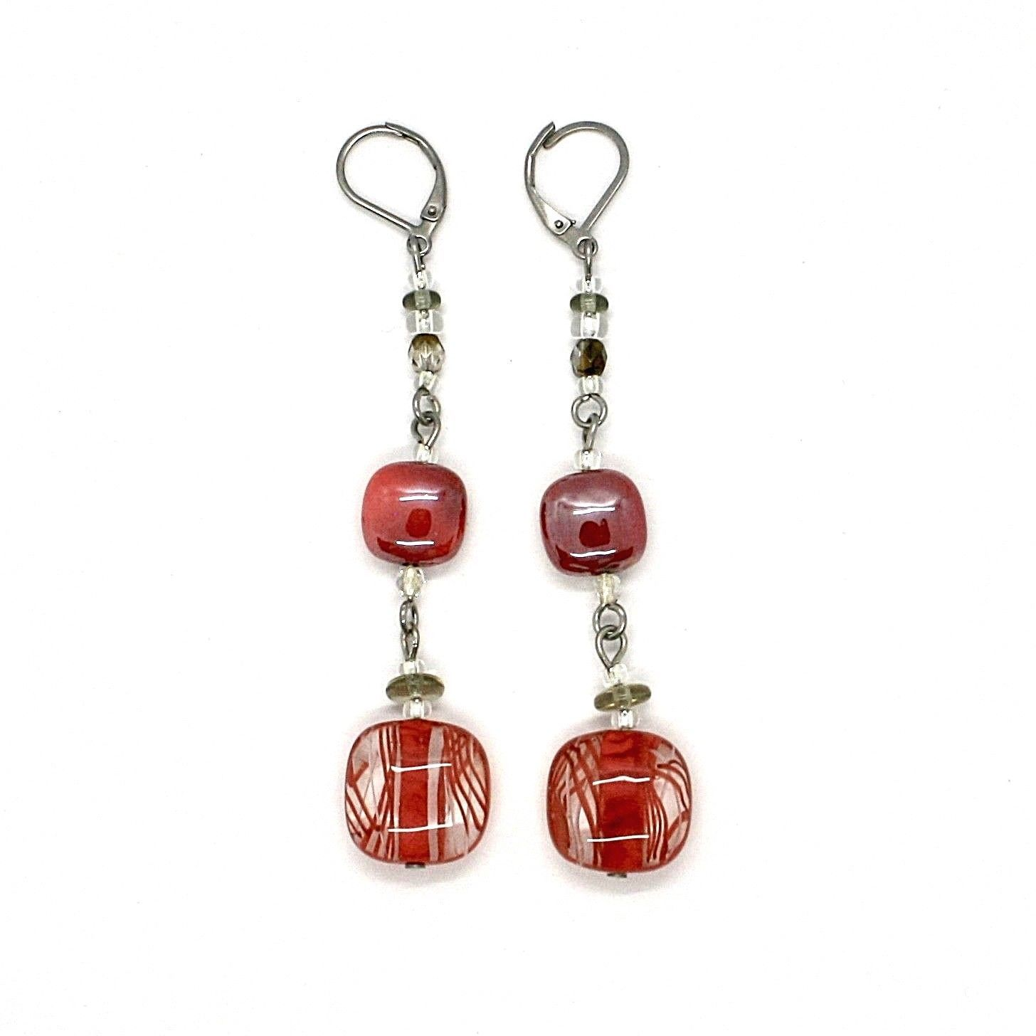 EARRINGS ANTICA MURRINA VENEZIA WITH MURANO GLASS RED AND GRAY OR509A11