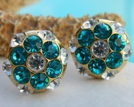 Vintage Rhinestone Button Earrings Flower Round Teal Turquoise Pierced - $22.95