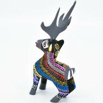 Handmade Alebrijes Oaxacan Copal Wood Carving Folk Art Deer Reindeer Figurine image 3