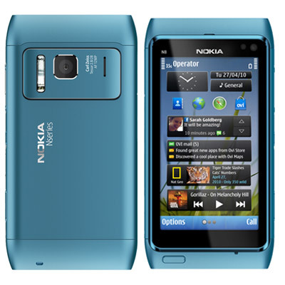 nokia n8 blue cell phone 12mp hd camera smartphone mobile ...