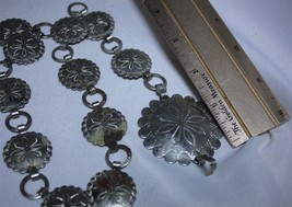 "Silvertone Steel Medallion Belt Vintage Some Damage Blossom Flower 33"" - $49.49"