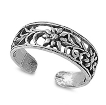 White Gold Finish 925 Sterling Silver Women's Flower Design Adjustable T... - $9.99