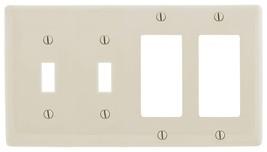 Bryant Electric NP2262LA Wallplate, Nylon, Standard Size, 4-Gang, 2 Togg... - $25.47