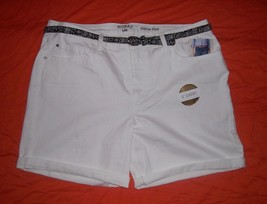 XL SHORTS WHITE LEE RIDERS JEAN ZIP BUTTON BELTED 16 MID RISE WAIST 36 S... - $18.80
