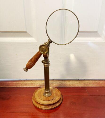 Vintage Desk Table Decorative Wood Magnifying Glass And Holder Desktop
