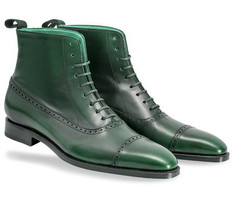 Green High Ankle Genuine Leather Handmade Rounded Derby Cap Toe Lace Up ... - $149.99+