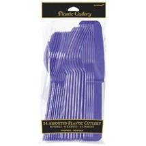 Purple Plastic 24 Cutlery Asst Forks Knives Spoons - $3.32