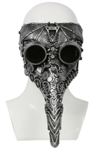 Plague Doctor Cosplay Mask Silver Resin Mechanical Gear Mask For Halloween - $76.36 CAD