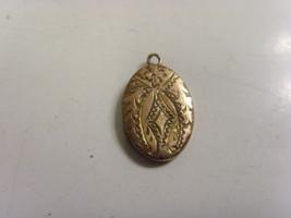 1800s antique gold filled engraved diminutive relic locket pendant gothi... - $48.99