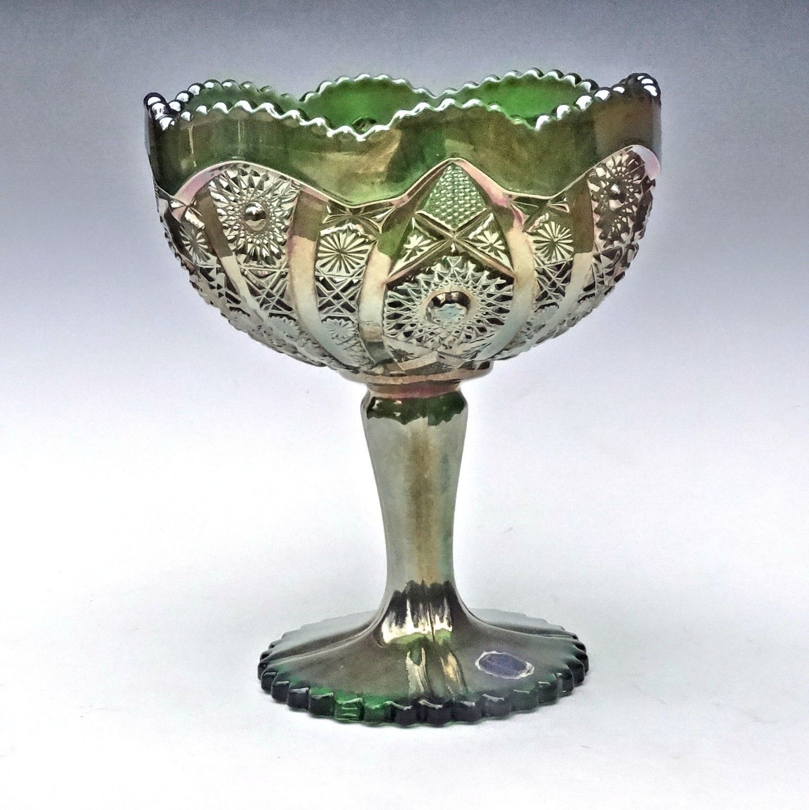 Imperial Carnival Glass Green Octagon Large Compote Comport Candy Chalice Label image 9