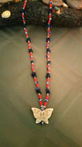 Vintage Chevron trade bead and Glass trade bead Necklace Hand Carved But... - $24.74