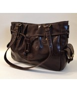 Rich Brown Faux Leather Purse Handbag Tote Side Pockets Metal Studs Buckles - $65.00